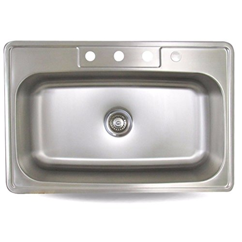 Sink Smart Top Mount Single Bowl 4-Hole Kitchen Sink Stainless Steel 18 Gauge - Satin Brush Finish