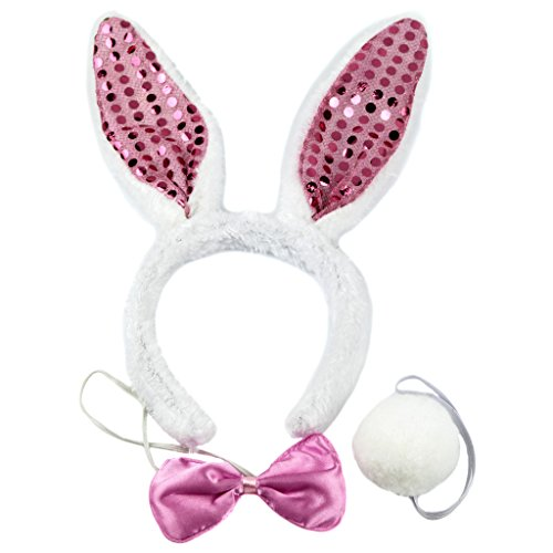 Lux Accessories Bedazzled Bunny Rabbit Ears Pink Bowtie Fluffy Tail Stretch Headband Halloween Costume ()