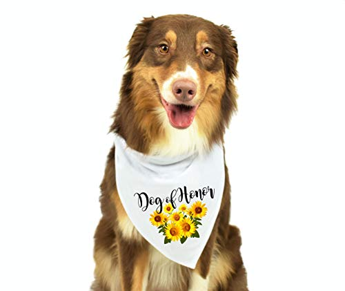 Moonwake Designs- Dog of Honor Bandana, Sunflower Wedding Bandana, Maid of Honor Dog Bandana, Wedding Photo Prop, Pet Scarf, Pet Accessories