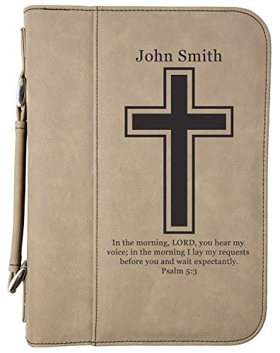 Custom Book/Bible Cover | Personalized Laser Engraved | Light Brown with Cross | 7 1/2