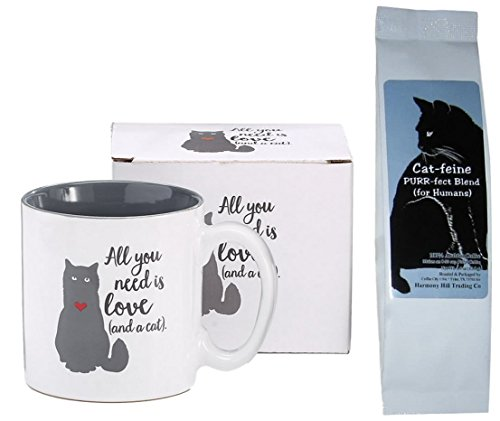 Cat Lovers Coffee Mug and Coffee Gift Set - All You Need is Love and a Cat Kitty Heart Mug Cup and Cat-feine Purr-fect Blend Coffee (for Humans) Novelty 2 ()