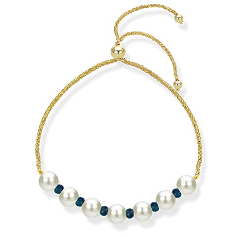 14K Yellow Gold Bolo Bracelet with Simulated Blue Sapphire and Freshwater Cultured Pearl Friendship Gift