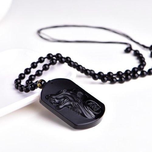 game of throne cadeau ideal pour la f/ête des peres verrredragon collier loup en obsidienne noire