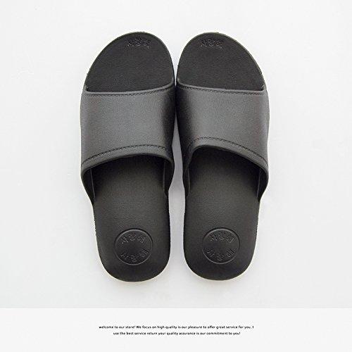 inferior suave DogHaccd antideslizante baño parejas interior zapatillas baño Negro2 Zapatillas Home macho pantuflas fresco verano wzOaw