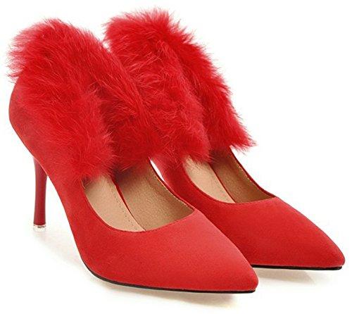Idifu Femmes Sexy Bout Pointu Slip Sur Talons Aiguilles Haut Faux Suede Bas Top Party Pompes Chaussures Rouge