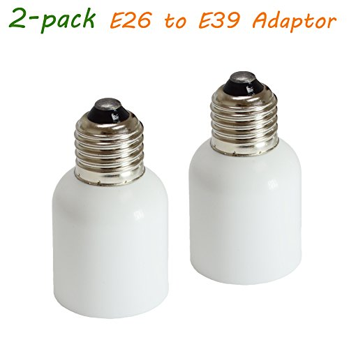 Dephen E26/E27 to E39/E40 Light Socket Adapter, Bulb Base Adapter Converter,Medium Base E26/E27 to Mogul Base E39/E40, Light Bulb Socket, 2 Pack