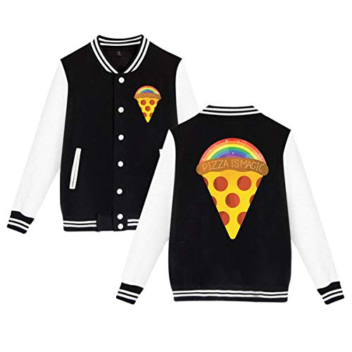 XPEACH Raibow Magic Pizza Cotton Baseball Letterman Jackets with Pockets, Baseball Uniform Jacket Sport Coat. -