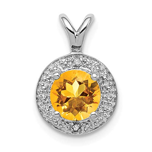 - 925 Sterling Silver Diamond Yellow Citrine Pendant Charm Necklace Birthstone November Set Fine Jewelry Gifts For Women For Her