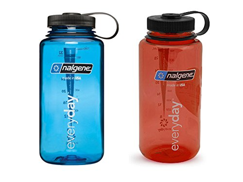 Nalgene 32 ounce (32oz) Wide Mouth (WM) Water Bottle - Combo Blue and Red - Set of 2