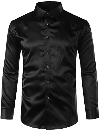- ZEROYAA Mens Regular Fit Long Sleeve Shiny Satin Silk Like Dance Prom Dress Shirt Tops Z6 Black XXX Large