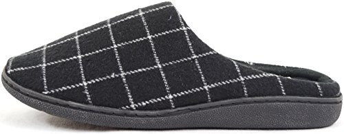 Mens Fleece Lined Checked Design Mules / Slippers Black bosRR5