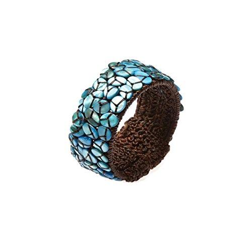 PtPt, Blue Turquoise Color Beads Stone on Adjustable Bangle Wax Cord Wrap, Bracelet Fashion Jewelry Women