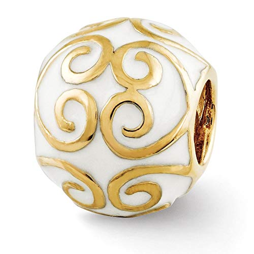 Sterling Silver Reflection Gold-Plated and Enameled Bali Solid Bead