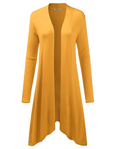 Jj Perfection Womens Asymmetric Drape Open Front Long Cardigan Mustard 3Xl