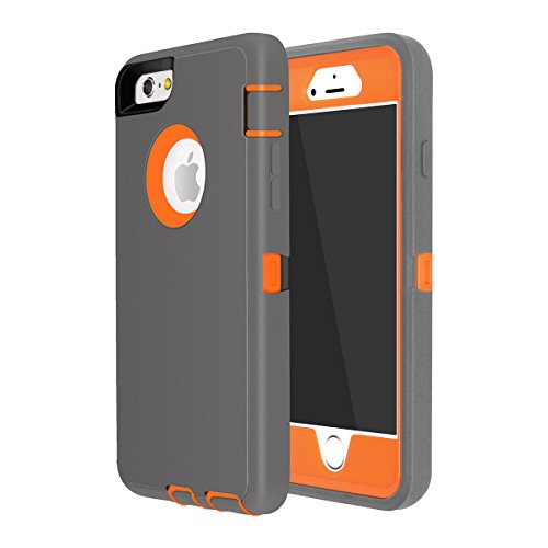 iPhone 6 Plus/6S Plus Case, Maxcury Heavy Duty Shockproof Series Case for iPhone 6 Plus /6S Plus (5.5) with Built-in Screen Protector Compatible with All US Carriers (Charcoal/Orange)