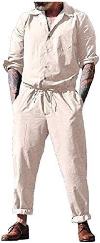 Romancly メンズジャンプスーツはカバーサイズ特大快適快適ロンパーボタンドパンツ