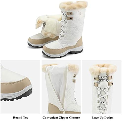 DREAM PAIRS Women's Warm Faux Fur Lined Mid-Calf Winter Snow Boots
