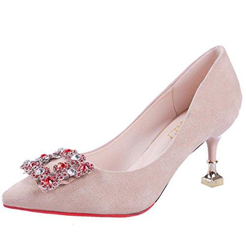 Mashiaoyi Damen Peep Toe Stiletto Ohne Verschluss Diamant Sandalen