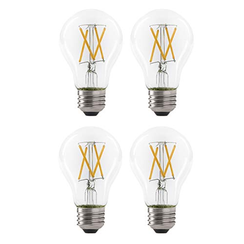 LED 7W A19 Filament Clear Light Bulb, 60W Equivalent, 800 Lumens, 2700K Soft White, Dimmable, E26 Medium Base, Energy Star Certified, 120V (4 Pack)