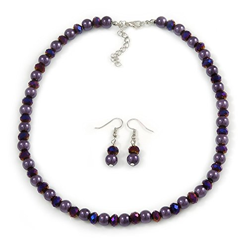 Avalaya 8mm Deep Purple Glass and Pearl Bead Necklace and Drop Earrings Set - 42cm L/ 5cm Ext