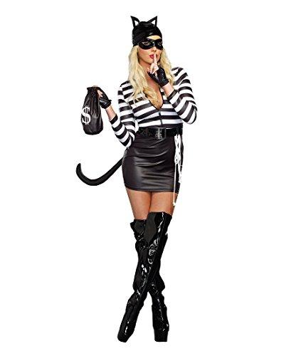 Dream Girl Cat Costume (Dreamgirl 9965 Cat Burglar Sexy Womens Costume - Medium - Black/White)