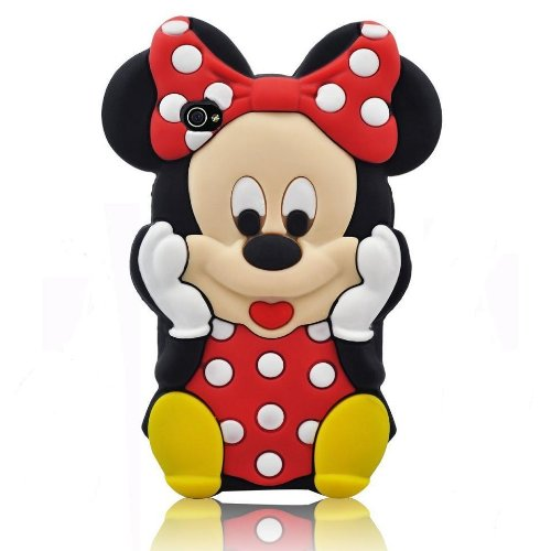 niceEshop Black/Red Disney Minnie Cartoon Mouse Soft Silicone Case Cover Fit For The iphone 4/4S +Free Screen Protector