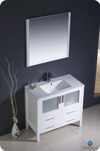 Fresca Torino 36u0026quot; White Modern Bathroom Vanity W/ Integrated Sink