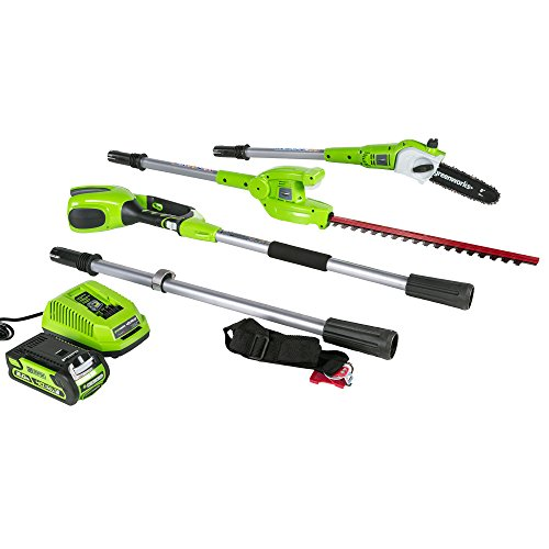 - Greenworks 8 Inch 40V Cordless Pole Saw with Hedge Trimmer Attachment 2.0 AH Battery Included PSPH40B210
