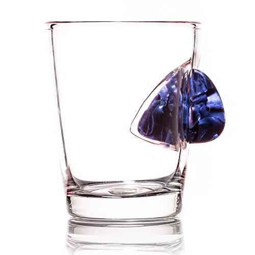 - The Original Shot Glass Embedded with a Real Acoustic Guitar Pick - Blue