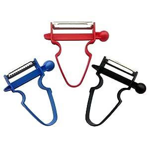 Magic Trio Peeler Cortador de Verduras,Cortadora Multifuncional, Trituradora de Alimentos, Picadora y Rallador, Sistema de Protección de Manos