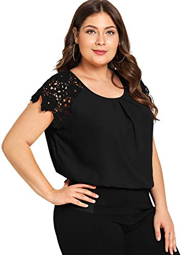 ROMWE Women's Plus Size Short Sleeve Lace Hollow Round Neck Elegant Blouse