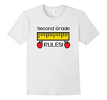 Mens Second Grade Rules Shirt, Cute Back to School Teacher Gift 2XL White