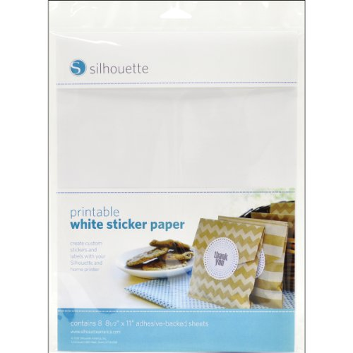 Silhouette Printable White Sticker Paper, 8.5'X11', 8 Count
