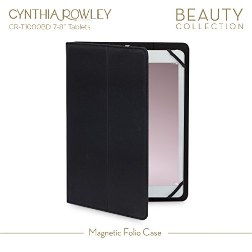 "Cynthia Rowley Tablet Magnetic Folio Case for 7-8"" Tablets (Black/Gold)"