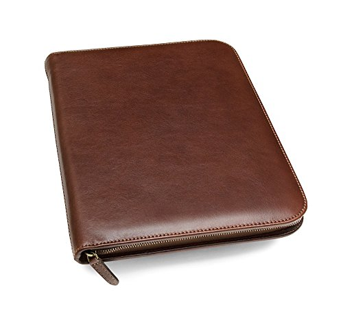 Personalized Leather Padfolio Executive Leather Writing Portfolio, Custom Engraved Business Case Monogrammed - Made in Italy (Custom Brown)