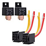 Ehdis [2 Pack Car Truck Motor Heavy Duty Heavy Duty 4-Pin 80A 12V On/Off Normally Open SPST Relay Socket Plug 4 Wire Automotive