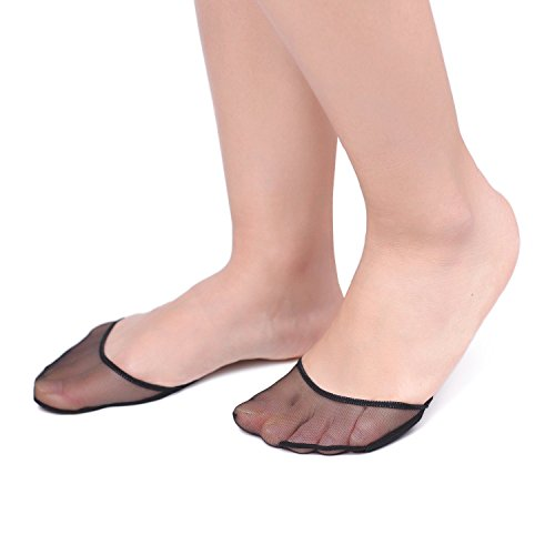 Flammi 4 Pairs Women's Sheer Toe Cover with Padding Toe Topper Liner Socks Non-Skid Bottom (Black)