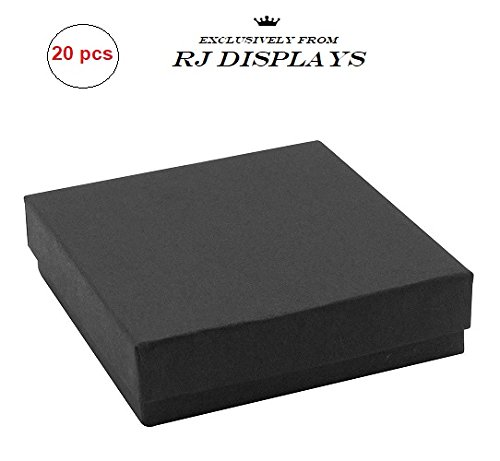 20 Pack Cotton Filled Matte Black Color Jewelry Gift and Retail Boxes 3 X 3 X 1 Inch Size by R J Displays