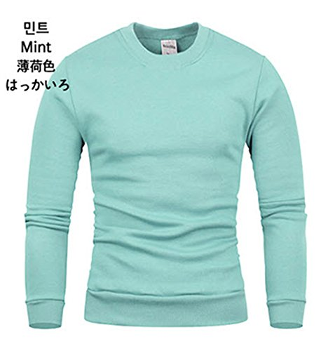 Men's Premium Basic Casual Long Sleeve Cotton T-shirts Jumper (Medium, Mint) (T-shirts Jumpers)