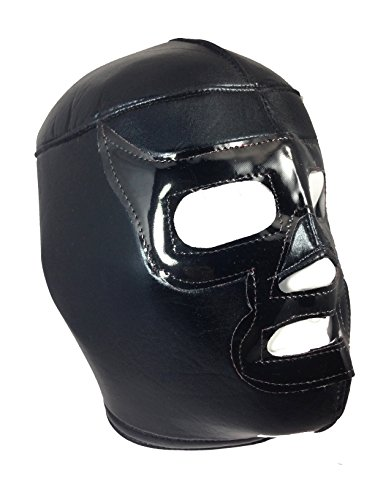 BLACK RAMSES Adult Lucha Libre Wrestling Mask (pro-fit) Halloween Costume - Black by Mask Maniac