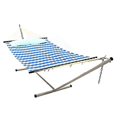 Sunnydaze 2 Person Freestanding Quilted Fabric Spreader Bar Hammock with Stand—Includes Detachable Pillow, 350 Pound Capacity, Royal Blue Stripe