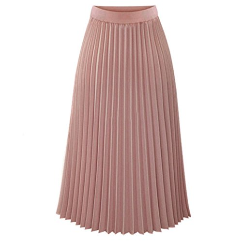Womens Solid Casual Pleated Elegant Classy Stretchy Waist Maxi Long Skirt Pink ()