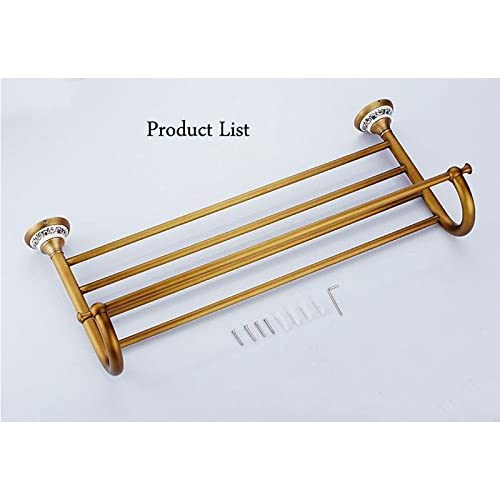 European Antique Towel Racks Brass Brushed Bathroom Accessories Double 60CM Towel Rack Bath Hardware 70%OFF