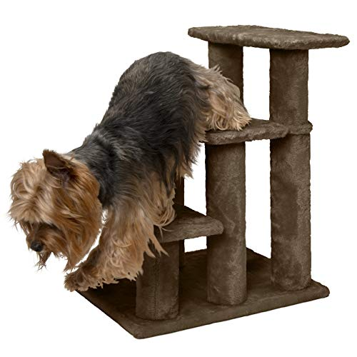 Furhaven Pet Stairs | Steady Paws Easy Multi-Step Pet Stairs Assist Ramp for Dogs & Cats, Brown, 3-Step