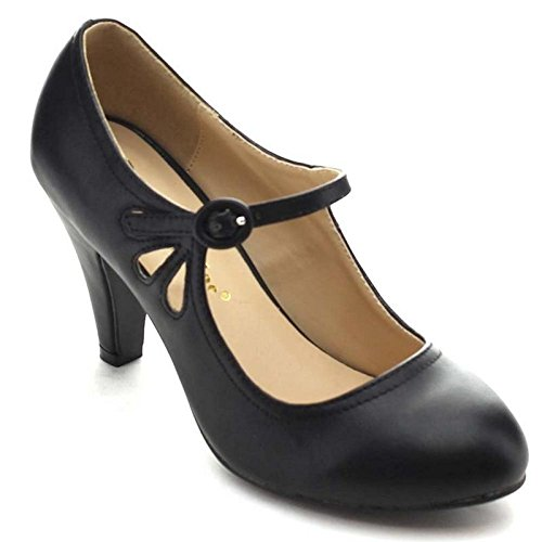Chase & Chloe Kimmy-21 Women's Round Toe Pierced Mid Heel Mary Jane Style Dress Pumps (8.5 B(M) US, Black)