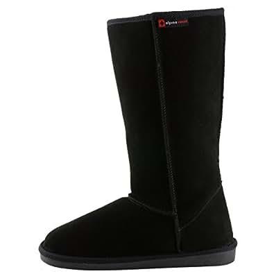 "Alpine Swiss Mia 12"" Tall Women's Shearling Boots Genuine Suede BLK 6"
