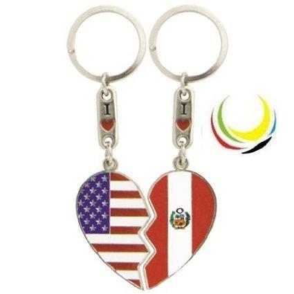 flagsandsouvenirs Keychain USA PERU HEART