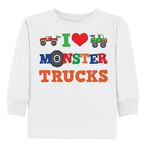 Inktastic - I Love Monster Trucks Toddler Long Sleeve T-Shirt 3T White - Monster Racing Jersey