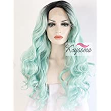 K'ryssma® Ladies Ombre Baby Green Dark Roots Long Wavy Synthetic Hair Lace Front Wigs for Party Women's Beautiful Looking Heat Friendly Layered Women's Replacement Hair Lace Wig 24 inches