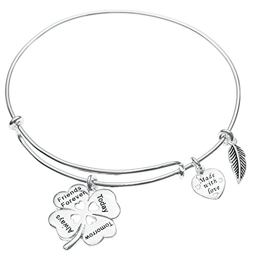 925 Sterling Silver Clover Friends Forever Today Tomorrow Always Heart Charm Adjustable Wire Bangle Bracelet